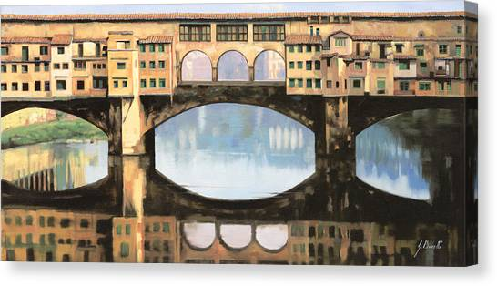 Italy Canvas Print - Ponte Vecchio A Firenze by Guido Borelli