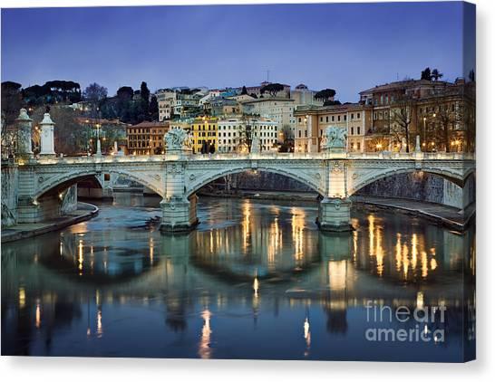 Bongos Canvas Print - Ponte Vittorio Emanuele II - Rome by Rod McLean