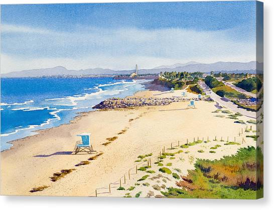 Coast Guard Canvas Print - Ponto Beach Carlsbad California by Mary Helmreich