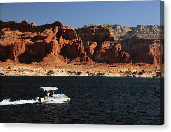 Pontoon Canvas Print - Pontoon Boat On Lake Powell, Glen by Michel Hersen
