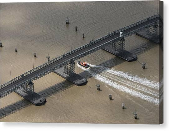 Pontoon Canvas Print - Pontoon Bridge Berbice River, East by Pete Oxford