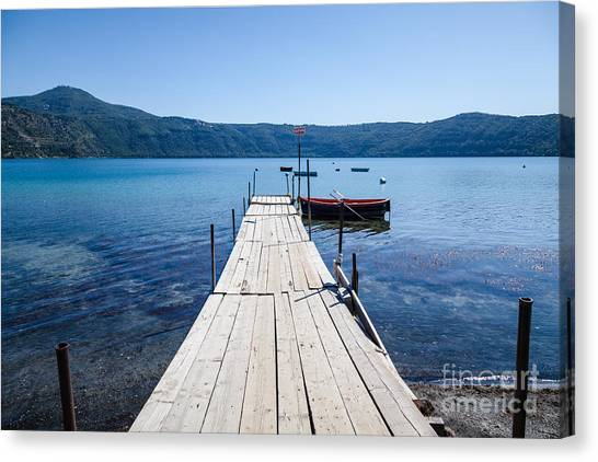 Pontoon With Rowing Boat On Lake Albano Lazio Italy Canvas Print