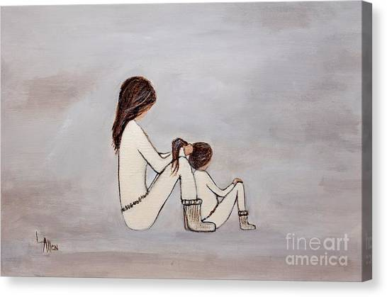 Big Sister Canvas Print - Pony Tail Day by Leslie Allen