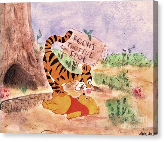 Pooh Bear Got Bounced Canvas Print