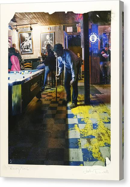 Pool Hall - The Rusty Nail Polaroid Transfer Canvas Print