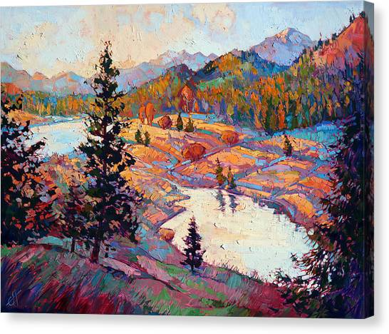 Glacier National Park Canvas Print - Pools Of Dawn by Erin Hanson