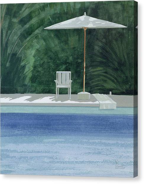 Summer Holiday Canvas Print - Poolside, 1994 Acrylic On Paper by Lincoln Seligman