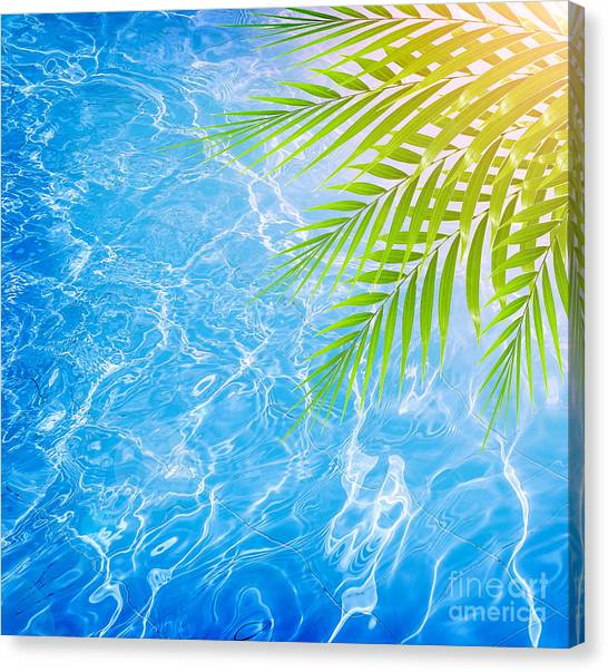 Poolside On Tropical Beach Canvas Print by Anna Om
