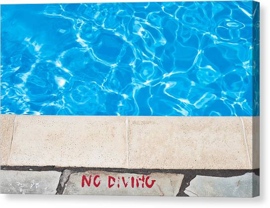 Caution Canvas Print - Poolside Warming by Tom Gowanlock