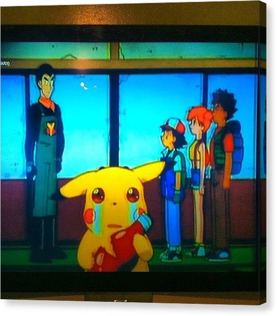 Ketchup Canvas Print - Poor Pikachu #pokemon #pikachu #ketchup by Zac McMains