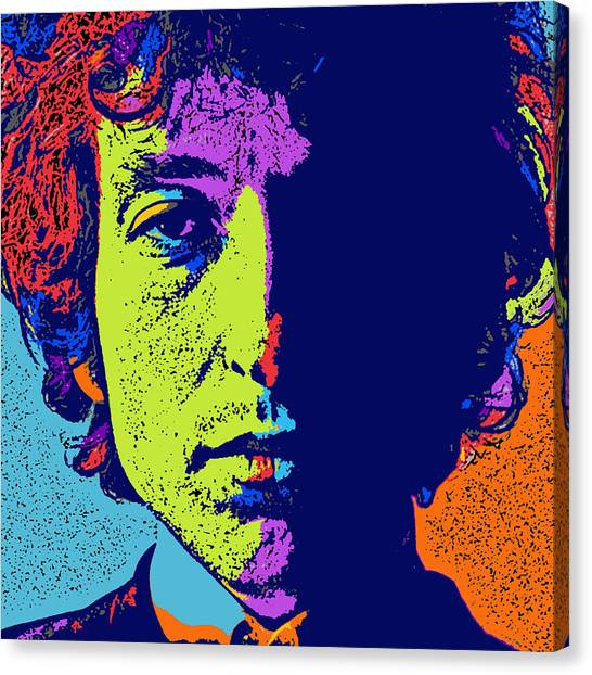 Bob Dylan Canvas Print - Pop Art Dylan by David G Paul