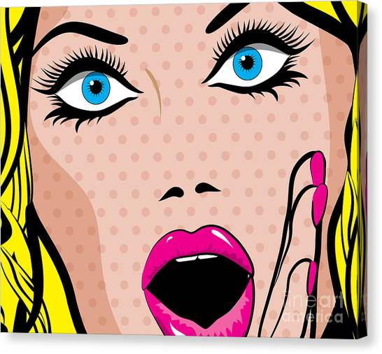 Background Canvas Print - Pop Art Excited Woman. Vector by Gal Amar
