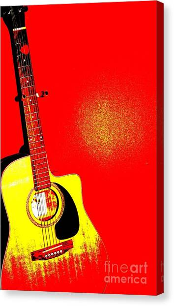 Guitar Picks Canvas Print - Pop Art Guitar In Red by Sophie Vigneault