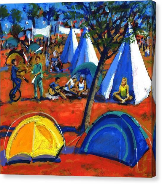 Teepee Canvas Print - Pop Festival by Paul Powis