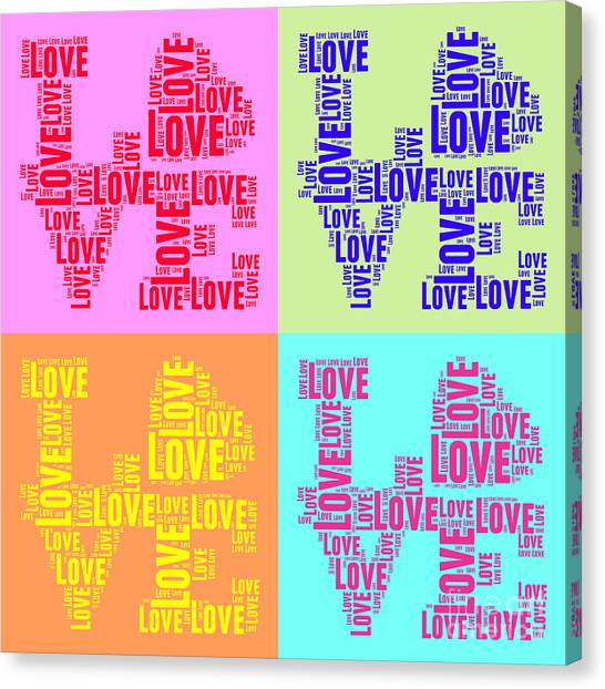 Andy Warhol Canvas Print - Pop Love Collage by Delphimages Photo Creations