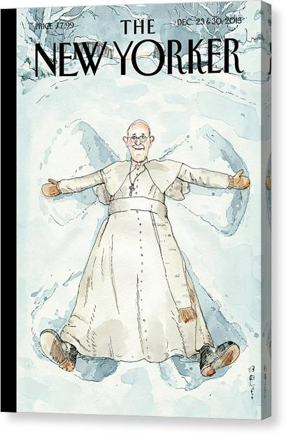 Catholic Canvas Print - Pope Francis Makes A Snow Angel by Barry Blitt