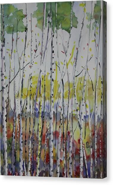 Poplars In Fall Canvas Print