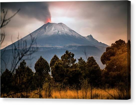 Popocatepetl Volcano From Puebla State Canvas Print by ©fitopardo.com