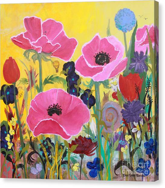 Canvas Print featuring the painting Poppies And Time Traveler by Robin Maria Pedrero