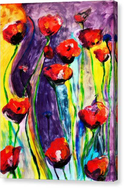 Poppys Canvas Print - Poppies And Wildflowers by Chastity Hoff