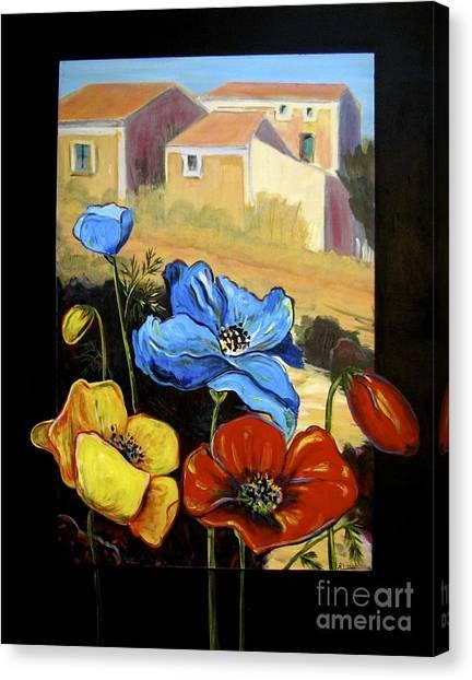 Poppies Citiscape Canvas Print