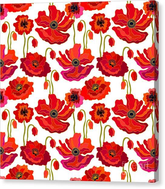 1950s Canvas Print - Poppies Field. Seamless Vector Pattern by Svetlana Kononova
