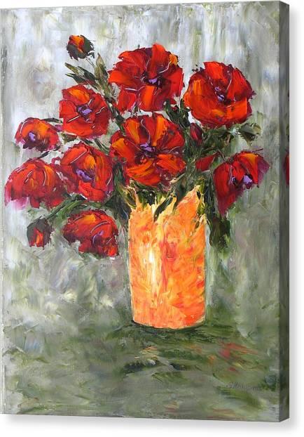 Poppies In Orange Vase Canvas Print