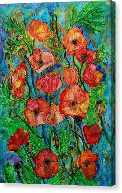 Poppies In Storm Canvas Print