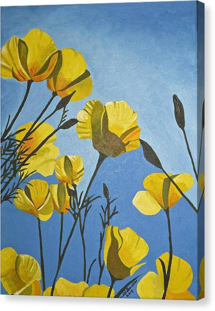 Poppies In The Sun Canvas Print
