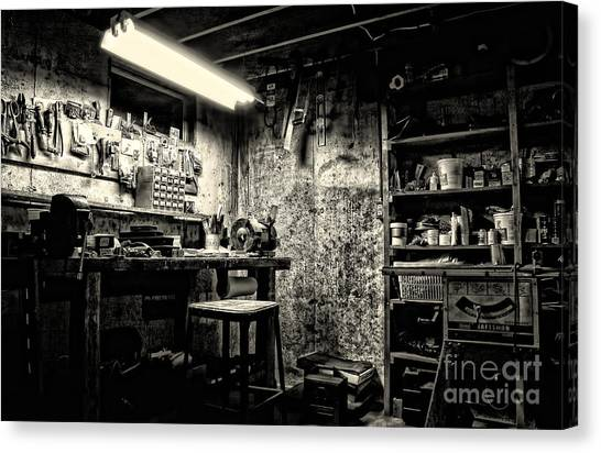 Fishing Poles Canvas Print - Pop's Workshop by HD Connelly