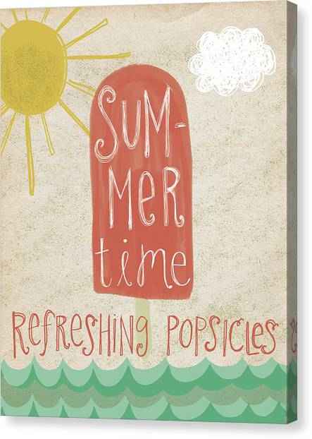 Summer Holiday Canvas Print - Popsicles by Katie Doucette