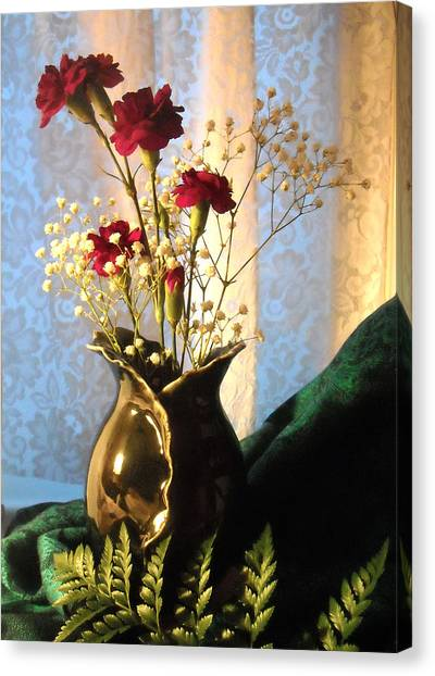 Porcelain Petal Vase 1 With Carnations Canvas Print
