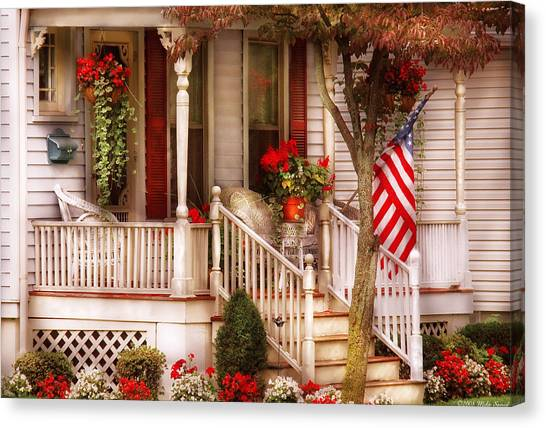 Stoop Canvas Print - Porch - Americana by Mike Savad