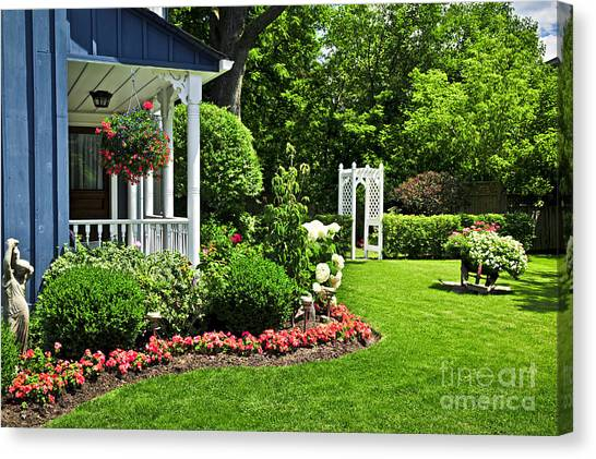 Arbor Canvas Print - Porch And Garden by Elena Elisseeva