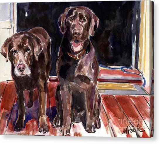 Chocolate Labrador Retriever Canvas Print - Porch Light by Molly Poole