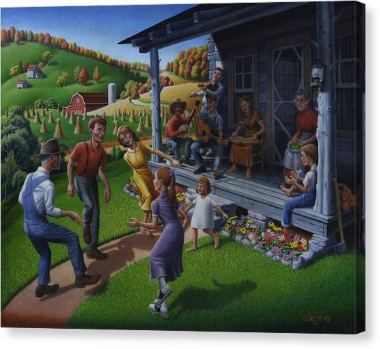 Fiddle Canvas Print - Porch Music And Flatfoot Dancing - Mountain Music - Appalachian Traditions - Appalachia Farm by Walt Curlee