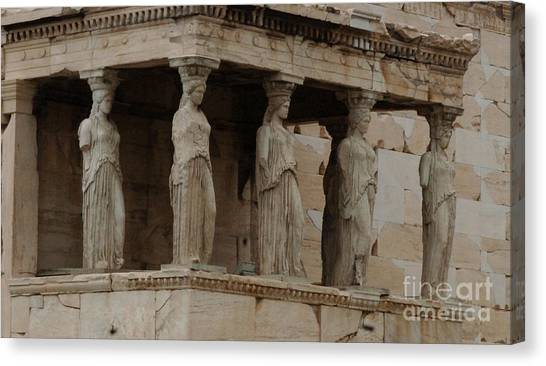 The Acropolis Canvas Print - Porch Of The Caryatids by Bob Christopher
