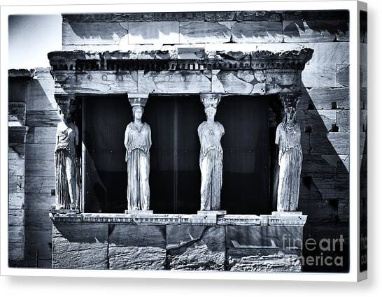 The Acropolis Canvas Print - Porch Of The Caryatids by John Rizzuto