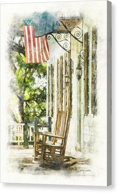 Porch Rocker At The Kaminski House Canvas Print