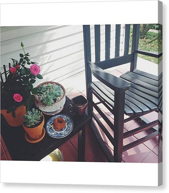 Doughnuts Canvas Print - #porchtime Is Among My Most Favorite Of by Rachel Morris