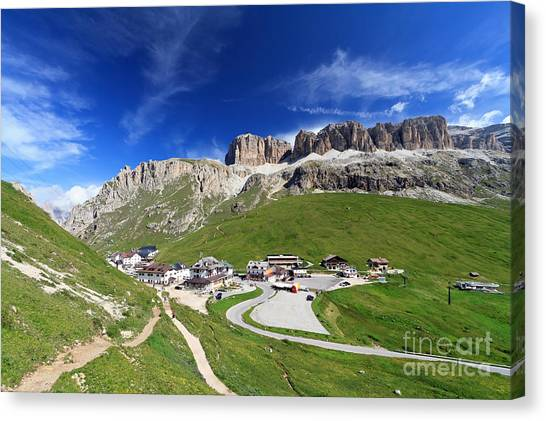 Pordoi Pass And Mountain Canvas Print