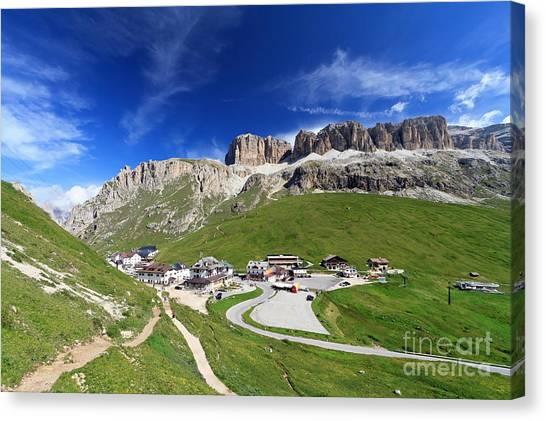 Pordoi Pass And Mountain Canvas Print