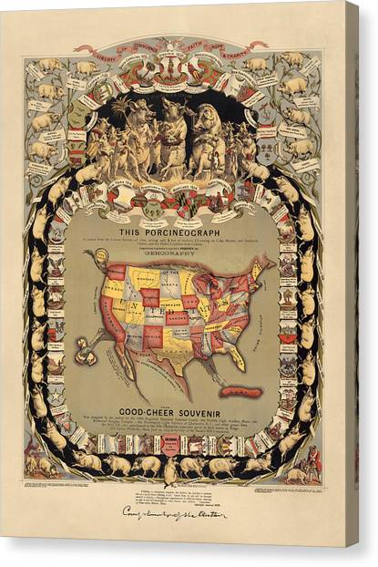 1876 Canvas Print - Pork Map Of The United States From 1876 by Blue Monocle