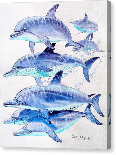 Blue Whales Canvas Print - Porpoise Play by Carey Chen
