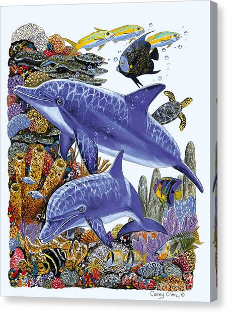 Sperm Whales Canvas Print - Porpoise Reef by Carey Chen