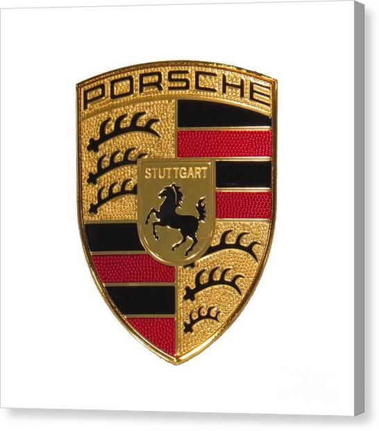 Porsche - Emblem White Canvas Print