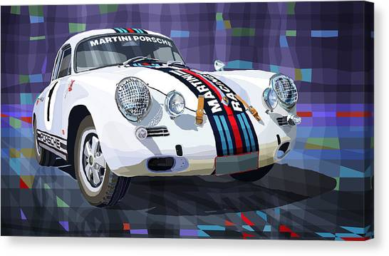 Mixed-media Canvas Print - Porsche 356 Martini Racing by Yuriy Shevchuk