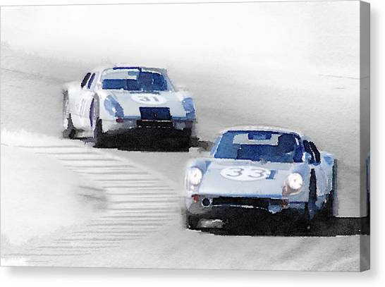 Classic Cars Canvas Print - Porsche 904 Racing Watercolor by Naxart Studio