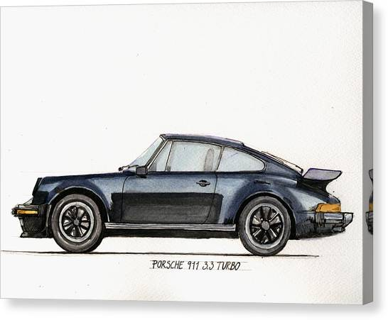 Sports Cars Canvas Print - Porsche 911 930 Turbo by Juan  Bosco