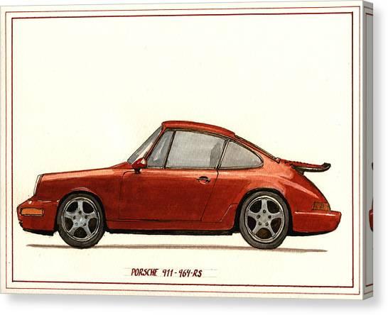 Racing Canvas Print - Porsche 911 964 Rs by Juan  Bosco